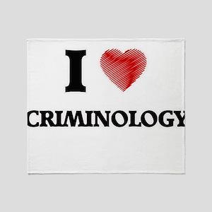 I Love Criminology Throw Blanket