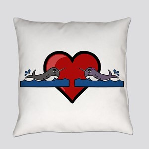 Narwhal Couple Everyday Pillow