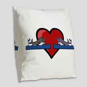 Narwhal Couple Burlap Throw Pillow