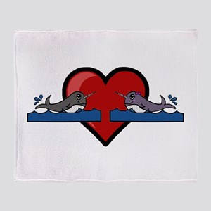 Narwhal Couple Throw Blanket