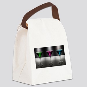 Pink, Blue & Green Martinis Canvas Lunch Bag