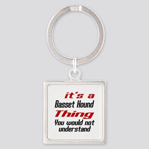 Basset Hound Thing Dog Designs Square Keychain