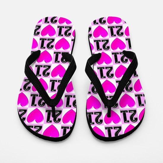 Pink Love 21st Flip Flops