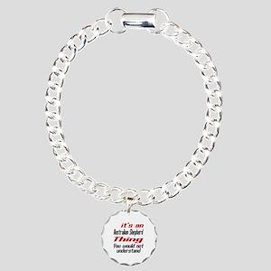Australian Shepherd Thin Charm Bracelet, One Charm