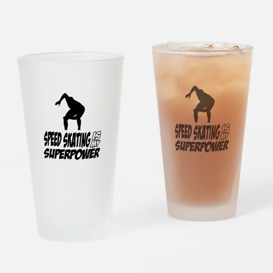 Speed Skating Is My Superpower Drinking Glass