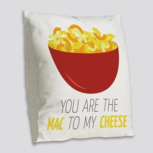 Mac To Cheese Burlap Throw Pillow