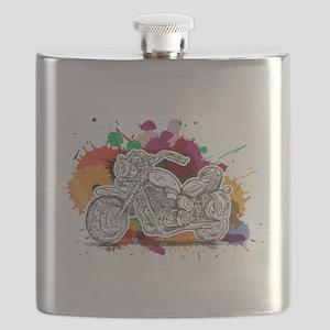Bike Colorful Splashes Flask