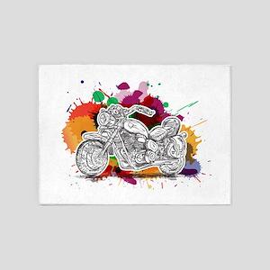 Bike Colorful Splashes 5'x7'Area Rug