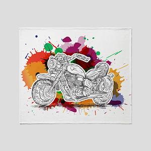 Bike Colorful Splashes Throw Blanket