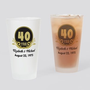40th Anniversary Personalized Gift Idea Drinking G