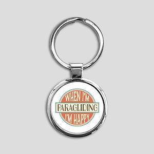 happy paraglider Round Keychain