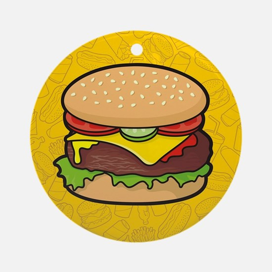 Cheeseburger background Round Ornament