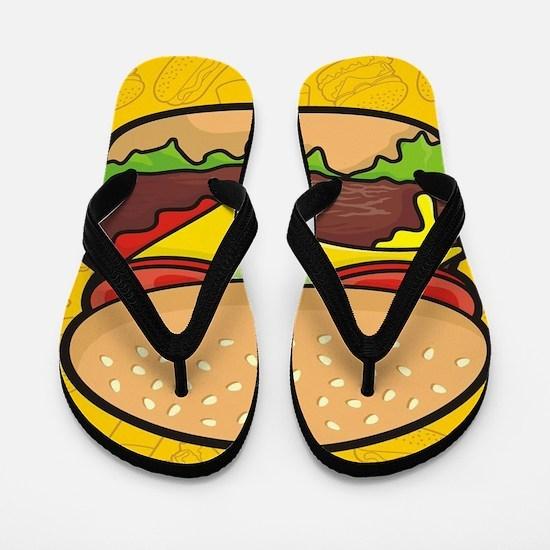 Cheeseburger background Flip Flops