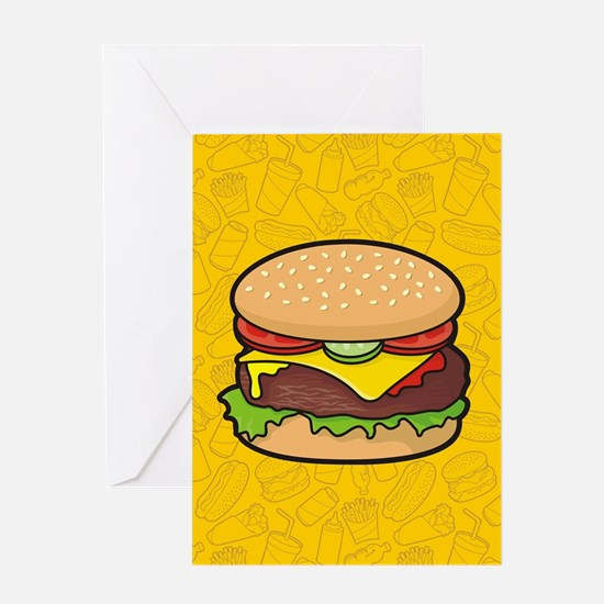 Cheeseburger background Greeting Cards
