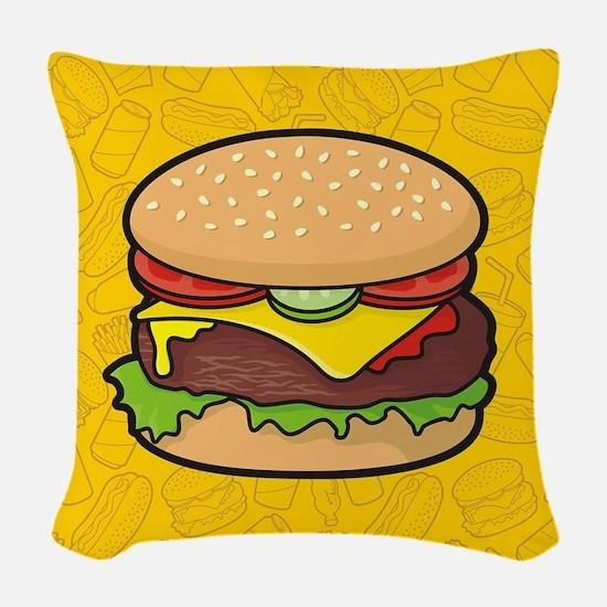 Cheeseburger background Woven Throw Pillow