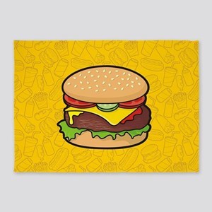 Cheeseburger background 5'x7'Area Rug