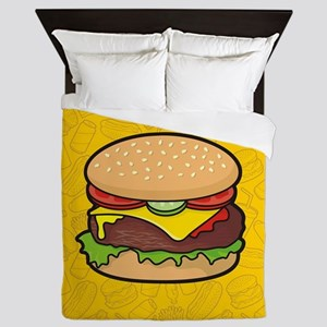 Cheeseburger background Queen Duvet