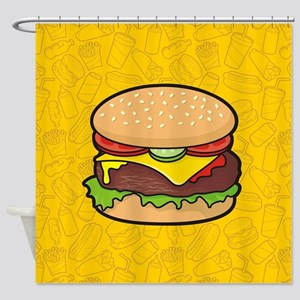 Cheeseburger background Shower Curtain