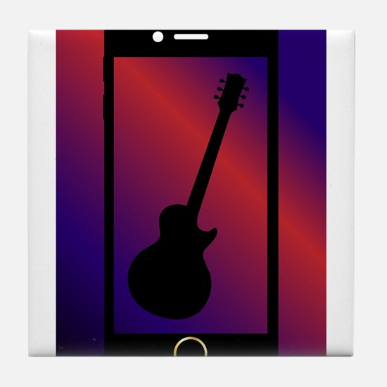 Mobile Phone With Guitar Tile Coaster