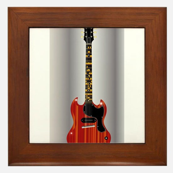 Guitar With Blues Scale Framed Tile
