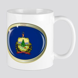 Vermont State Flag Oval Button Mugs