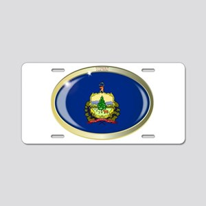 Vermont State Flag Oval But Aluminum License Plate