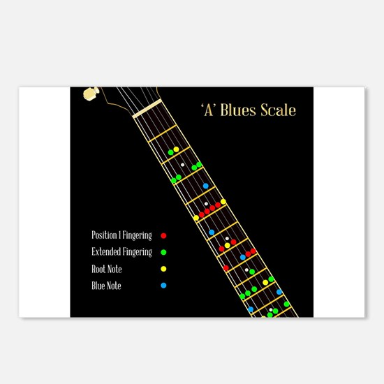 Guitar Blues Scale In A Postcards (Package of 8)