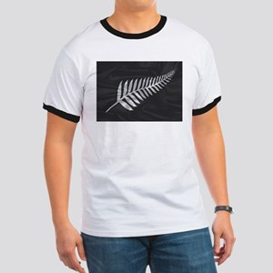 Silk Flag Of New Zealand Silver Fern T-Shirt