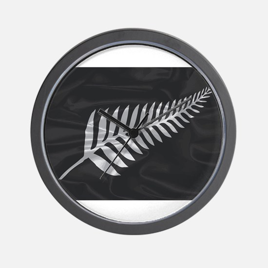 Silk Flag Of New Zealand Silver Fern Wall Clock