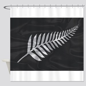 Silk Flag Of New Zealand Silver Fer Shower Curtain