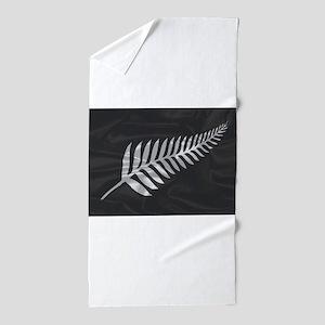 Silk Flag Of New Zealand Silver Fern Beach Towel