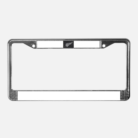 Silk Flag Of New Zealand Silve License Plate Frame