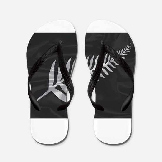 Silk Flag Of New Zealand Silver Fern Flip Flops
