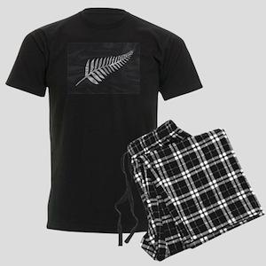 Silk Flag Of New Zealand Silve Men's Dark Pajamas