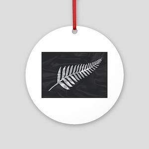 Silk Flag Of New Zealand Silver Fer Round Ornament