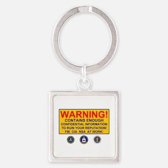 WARNING SIGN - GOVERNMENT SURVEILLANCE - Keychains