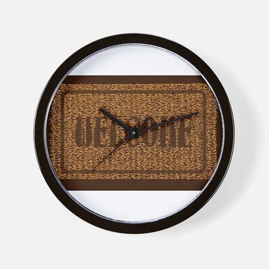 Welcome Coconut Doormat Wall Clock