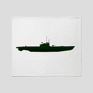 Submarine Silhouette On White Throw Blanket