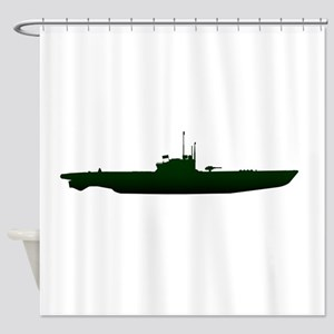 Submarine Silhouette On White Shower Curtain