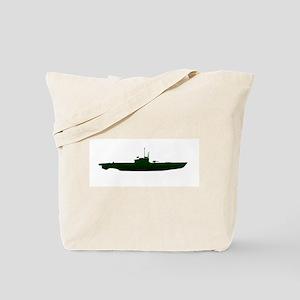 Submarine Silhouette On White Tote Bag