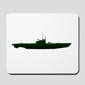 Submarine Silhouette On White Mousepad