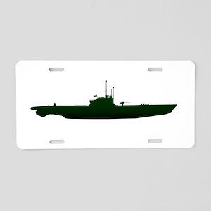 Submarine Silhouette On Whi Aluminum License Plate