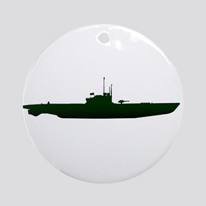 Submarine Silhouette On White Round Ornament