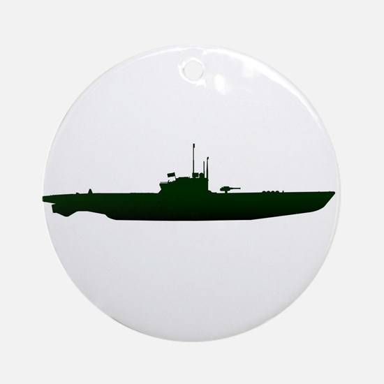 Submarine Silhouette On White Round Ornament