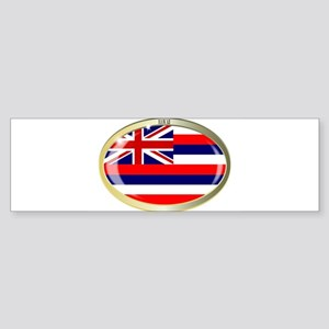 Hawaii State Flag Oval Button Bumper Sticker