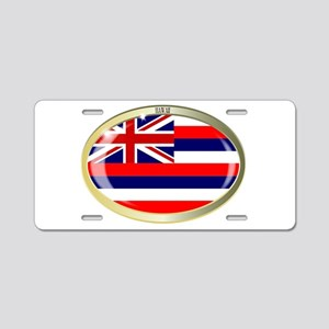 Hawaii State Flag Oval Butt Aluminum License Plate
