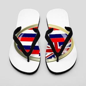 Hawaii State Flag Oval Button Flip Flops