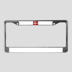 Flag of Denmark Grunge License Plate Frame
