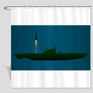 Missile Undersea Launch Shower Curtain