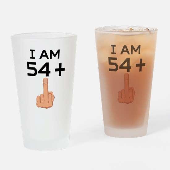 54 Plus Middle Finger 55th Birthday Drinking Glass